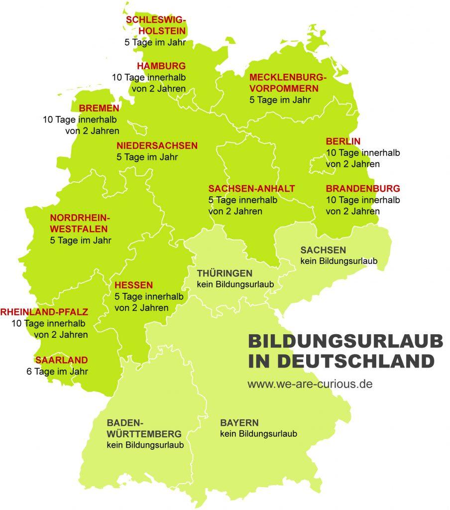 Karte Bildungsurlaub Deutschland Bundeslaender