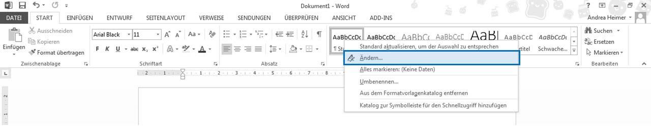 Word 2010 Formatvorlagen ändern