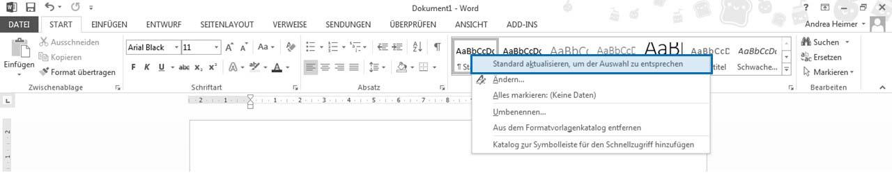 Word 2010 Formatvorlagen: Standard aktualisieren, um der Auswahl zu entsprechen