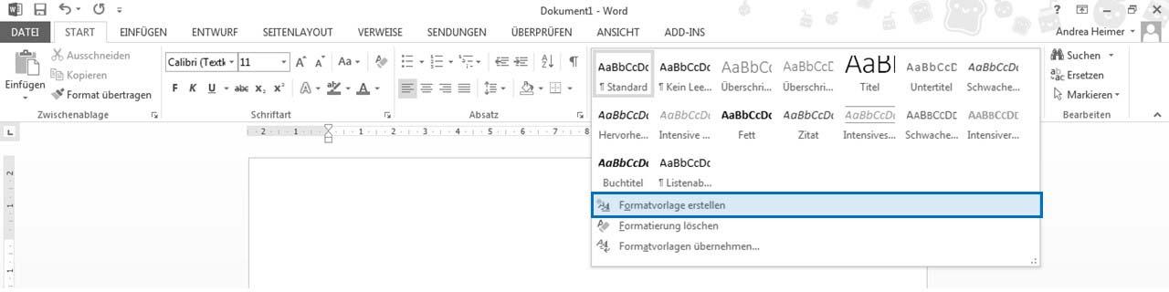 Word 2010 Neue Formatvorlage erstellen