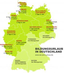 Karte Bildungsurlaub in Deutschland nach Bundesländern